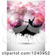 Clipart Of A Silhouetted Crowd Of Fans Cheering On Grunge Over Pink Hexagons Royalty Free Vector Illustration