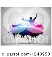 Clipart Of A Silhouetted Crowd Of Fans Cheering On Colorful Grunge Over Gray Royalty Free Vector Illustration