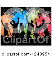 Clipart Of Silhouetted Dancers Over Colorful Splatters And Stars On Black Royalty Free Vector Illustration by KJ Pargeter