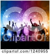 Clipart Of Silhouetted Dancers Over A Burst Of Colorful Lights And Flares Royalty Free Vector Illustration