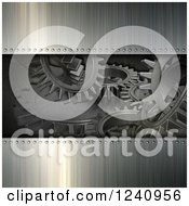 Clipart Of A 3d Brushed Metal And Gear Cog Background Royalty Free Illustration
