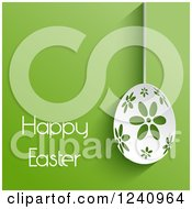 Clipart Of A White Happy Easter Greeting With A Suspended Floral Egg On Green Royalty Free Vector Illustration
