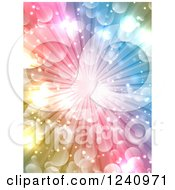 Clipart Of A Colorful Burst Background With Light Flares Royalty Free Vector Illustration