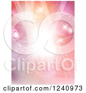 Clipart Of A Bright Spotlight On Gradient Pink And Orange With Flares Royalty Free Vector Illustration by KJ Pargeter