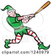 Clipart Of A Cartoon Elf Swinging A Baseball Bat Royalty Free Vector Illustration
