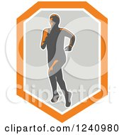 Clipart Of A Male Marathon Runner In A Gray And Orange Shield Royalty Free Vector Illustration