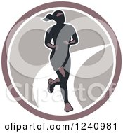 Clipart Of A Female Marathon Runner In A Circle Royalty Free Vector Illustration