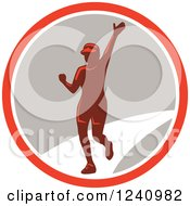 Clipart Of A Waving Female Marathon Runner In A Circle Royalty Free Vector Illustration