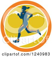 Clipart Of A Female Marathon Runner In A Circle Of Muntains Royalty Free Vector Illustration