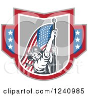 Clipart Of A Retro American Revolutionary Soldier Patriot Minuteman Carrying A Flag In A Shield Royalty Free Vector Illustration