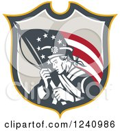 Clipart Of A Retro American Revolutionary Soldier Patriot Minuteman With A Flag In A Shield Royalty Free Vector Illustration