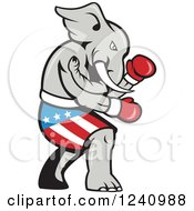 Clipart Of A Republican Elephant Boxer Royalty Free Vector Illustration