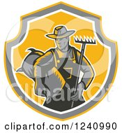 Clipart Of A Retro Woodcut Farmer With A Rake And Bag Of Seed In A Shield Royalty Free Vector Illustration