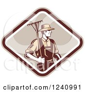 Clipart Of A Retro Woodcut Farmer With A Rake In A Diamond Royalty Free Vector Illustration
