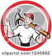 Poster, Art Print Of Cartoon Handyman Waving And Carrying A Hammer In A Circle
