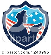 Clipart Of A Silhouetted Officer And Security Dog In An American Shield Royalty Free Vector Illustration