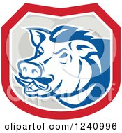 Clipart Of A Retro Wild Boar Pig In A Shield Royalty Free Vector Illustration