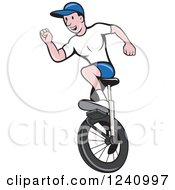 Clipart Of A Cartoon Man Riding A Unicycle Royalty Free Vector Illustration
