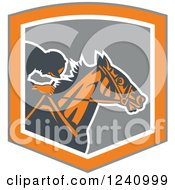Clipart Of A Retro Jockey Racing A Horse In A Gray And Orange Shield Royalty Free Vector Illustration
