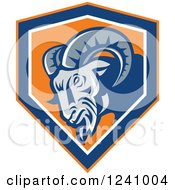 Clipart Of A Tough Ram In A Blue And Orange Shield Royalty Free Vector Illustration