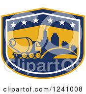Clipart Of A Retro Cement Truck And City In A Shield Royalty Free Vector Illustration