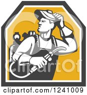 Clipart Of A Woodcut Male Welder In A Shield Royalty Free Vector Illustration