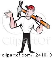 Cartoon Handyman Waving And Carrying A Hammer