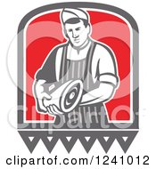 Clipart Of A Retro Male Butcher Holding Meat Royalty Free Vector Illustration