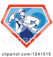 Retro Male Carpenter With A Giant Hammer In A Triangle