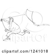 Clipart Of A Black And White Man Running With A Kite Royalty Free Vector Illustration
