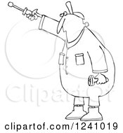 Clipart Of A Black And White Worker Man Pointing With A Nut Driver Royalty Free Vector Illustration