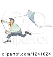 Clipart Of A Caucasian Man Running With A Kite Royalty Free Vector Illustration