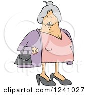 Clipart Of A Caucasian Senior Lady With Her Hair In A Bun Royalty Free Vector Illustration