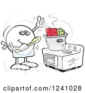 Clipart Of A Sneaky Moodie Emoticon Cooking The Books Royalty Free Vector Illustration by Johnny Sajem