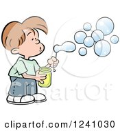 Clipart Of A Caucasian Boy Blowing Bubbles Royalty Free Vector Illustration by Johnny Sajem