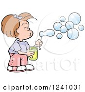 Clipart Of A Caucasian Girl Blowing Bubbles Royalty Free Vector Illustration by Johnny Sajem