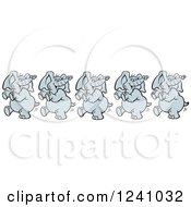 Clipart Of A Happy Elephant Dancing Royalty Free Vector Illustration by Johnny Sajem