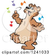 Happy Bear Dancing With Colorful Music Notes