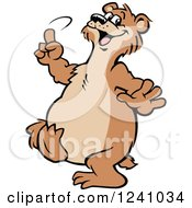 Clipart Of A Happy Bear Dancing Royalty Free Vector Illustration
