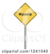 3d Yellow Warning Russia Sign On A White Background