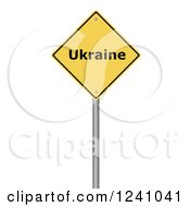 3d Yellow Warning Ukraine Sign On A White Background