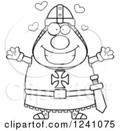 Clipart Of A Black And White Chubby Knight Templar With Open Arms And Hearts Royalty Free Vector Illustration
