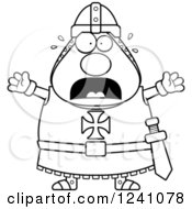 Clipart Of A Black And White Scared Screaming Chubby Knight Templar Royalty Free Vector Illustration