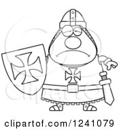 Clipart Of A Black And White Depressed Sad Chubby Knight Templar Royalty Free Vector Illustration