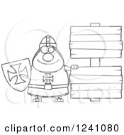 Clipart Of A Black And White Chubby Knight Templar By Wooden Signs Royalty Free Vector Illustration