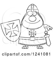 Clipart Of A Black And White Happy Chubby Knight Templar Royalty Free Vector Illustration