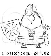 Clipart Of A Black And White Surprised Gasping Chubby Knight Templar Royalty Free Vector Illustration