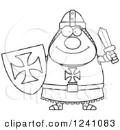 Clipart Of A Black And White Happy Chubby Knight Templar Holding A Sword And Shield Royalty Free Vector Illustration