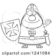 Clipart Of A Black And White Friendly Waving Chubby Knight Templar Royalty Free Vector Illustration
