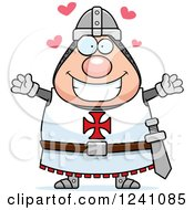 Clipart Of A Chubby Knight Templar With Open Arms And Hearts Royalty Free Vector Illustration